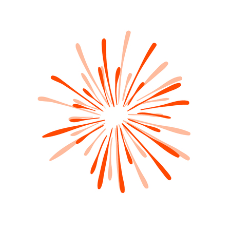 Hand Drawn Firework Explosion, Red Cracker, Vector.