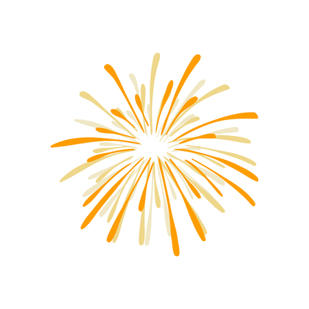 Hand Drawn Firework Explosion, Golden Cracker, Vector.