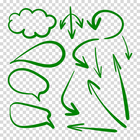 Vector Set of Talk Clouds and Arrows, Green Drawings on Transparent Background. Illustration