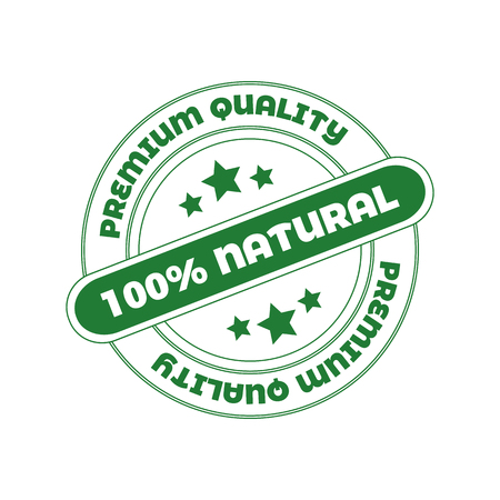 Vector Stamp: 100 Natural, Design Element for Organic Food Cosmetics Package.