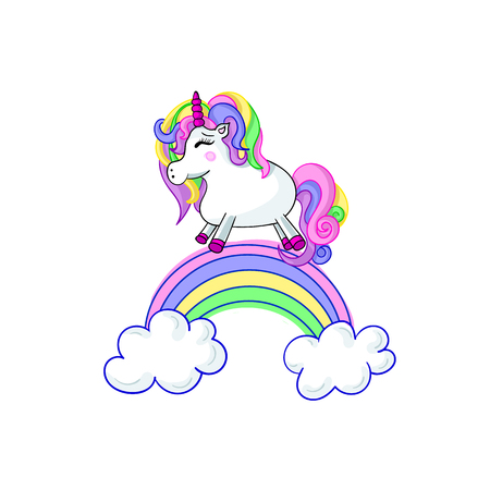 Unicorn Cartoon Vector Cute Illustration, Isolated on White Background Fairytale. 矢量图像