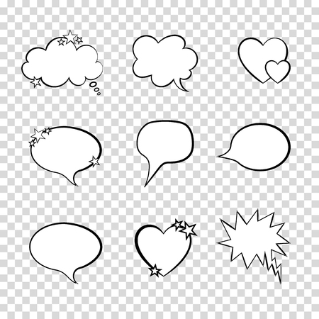 Vector Talk Bubbles Set on Transparent Background, Quote Frames Collection.