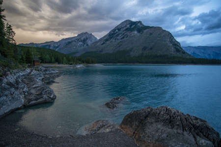 View after the storm of Lake Minnewanka in Banff National Forest.