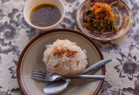 Beef Lawar, Rice and Sambal. Lawar is a traditional Balinese dish.
