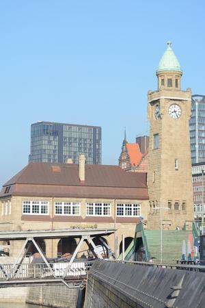 reeperbahn: Clock Tower At The Port Of Hamburg Editorial