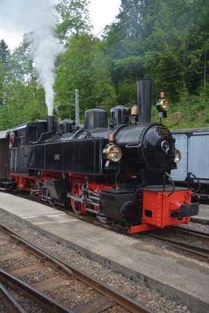 back and forth: Mallet Steam Railway Locomotive G 2x 22 105 SEG. This steam train was constructed by the Karlsruhe ENgineering Works in the year 1918. It was used Todtnau Germany. Driving back and forth between Zell and Todtnau. SEG stands for Sueddeutsche EisenbahnGesel