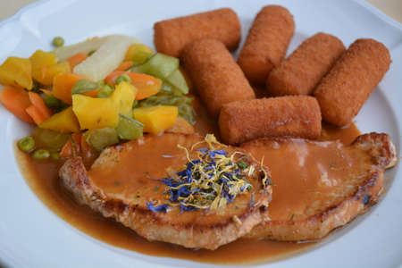 Served Pork Cutlet With Fried Potato Croquettes