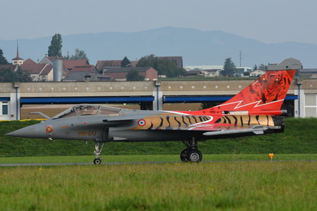 This jet fighter belongs to the escadron de chasse 01007 Provence stationed in Saint-Dizier-Robinson, France. This picture was taken at the air14 show in Payerne, Switzerland, on the 7th of September 2014.