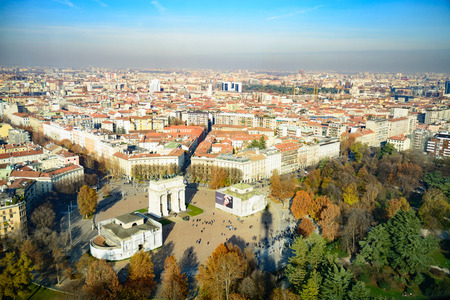 Milan Skyline  Arco Della Pace  Piazza Sempione. View of Milans skyline with the Napoleonic Arco Della Pace at the Piazza Sempione. The picture was taken from the Torre Branca Branca Tower which is located in the Parco Sempione.