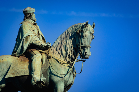 national hero: This is a closeup of the equestrian statue of Giuseppe Garibaldi, an Italian general and politican which has become a national hero. Stock Photo