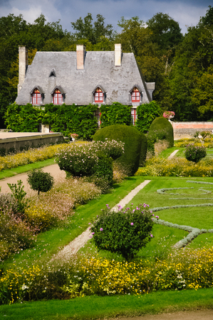 The Chancellery At Chenonceau Castle. This is part of the beautiful formal garden at famous Chenonceau castle in the loire region of france. It attracks every year many visitors. Editorial