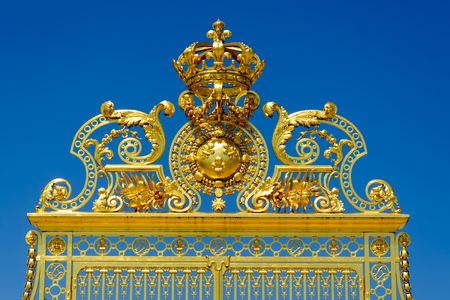 This is the beautiful golden entrance gate to the famous palace of Versailles in France.