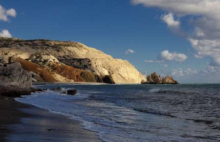 afrodita: playa de gravilla, Petra tou Romiou, lugar de nacimiento de Afrodita