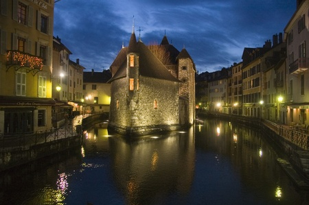 Old prison of Annecy at night photo