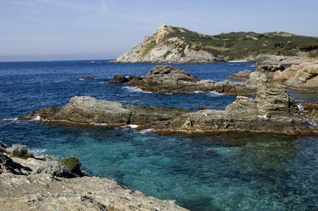 french riviera: View upon rocks and sea in french riviera, Le brusc, Les embiez (83 - France) Stock Photo