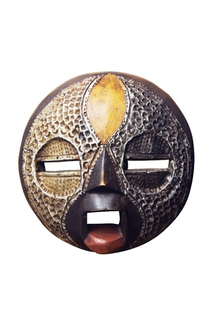 African circular mask Ashanti : wood and metal. Isolated on white background with clipping path