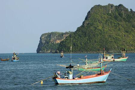 karst: Boats and karst mountains at Prachuab Khiri Khan in Thailand