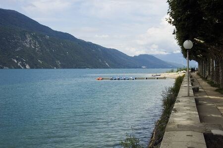 french way: View of Lake Bourget and walk way of Aix-les-bains, in french alps, France