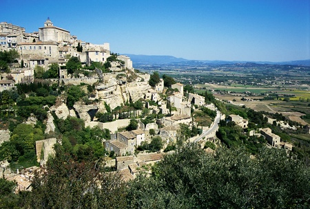 the luberon: Overview of the village of Gordes in Luberon; one of the most beautiful villages in France. Stock Photo