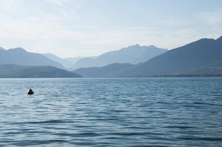 Annecy lake and mountains on morning photo