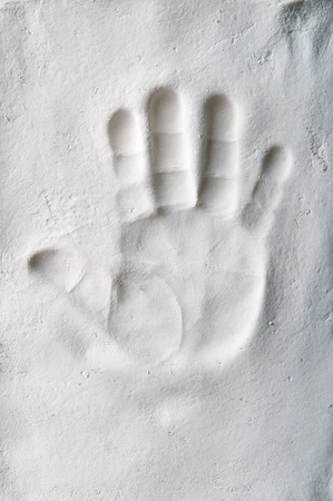 hand print: Handprint of a baby in the plaster