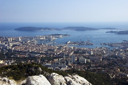 french riviera: Bay of Toulon and city on french riviera, France. Stock Photo