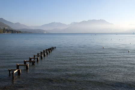 Pontoon structure and Lake Annecy, in France