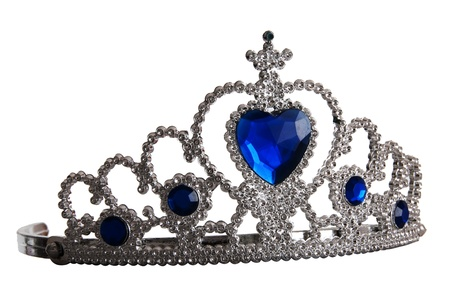 Toy tiara with diamonds and blue gem, like a princess crown, isolated on white background photo