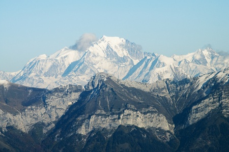 The Mont Blanc viewed from Semnoz, near annecy, France photo