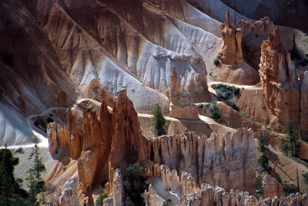 Footpath throught mounts and rocks formation at Bryce Canyon, USA photo