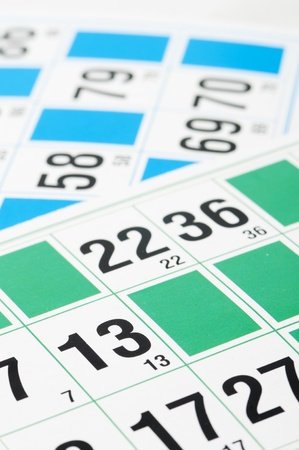 loto: Green and blue Bingo cards and number thirteen