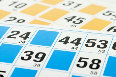 thirteen: Yellow and blue Bingo cards and number forty four