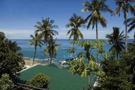 apo: View of Sea, boats and bungalow roofs at Apo island, Philippines Stock Photo