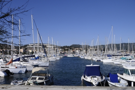 Marina of Bandol with motor boats and sailboats on french riviera, france Stock Photo - 13728930