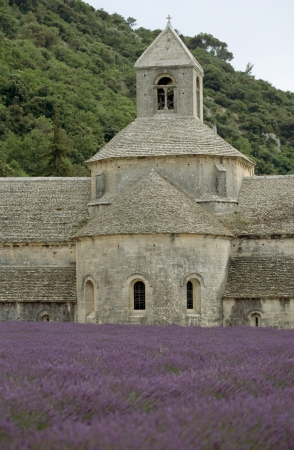 senanque: Abbey Senanque in France and lavender field in bloom Stock Photo