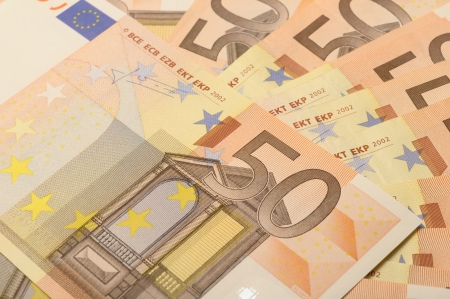Some fifty euro bank notes for background photo