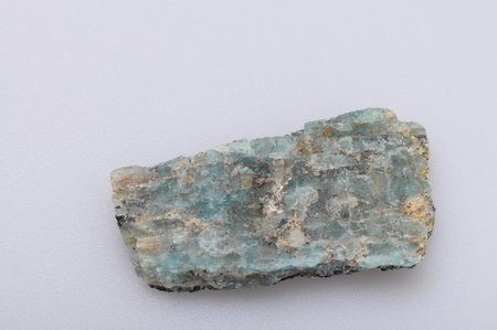 amazonite: Green and blue amazonite mineral on light background