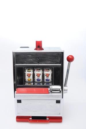 addiction: Slot machine and jackpot three seven on light background