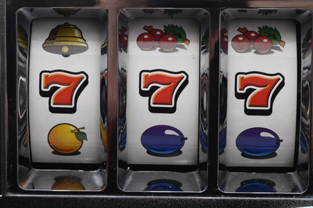 Slot machine and jackpot three seven Reklamní fotografie