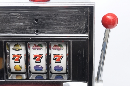 jackpot: Slot machine and jackpot three seven on light background