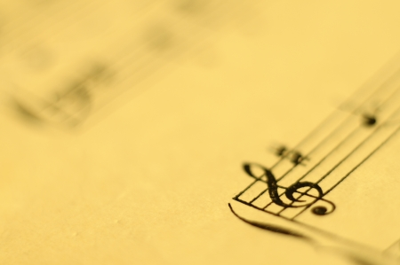 Close up of piano music score and notes and old paper photo