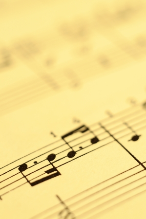 Close up of piano music score and notes and old paper Stock Photo - 18658180