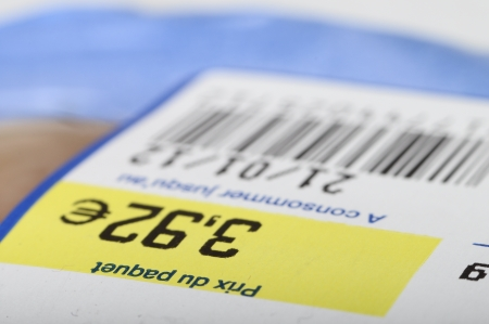 traceability: Euro price, bar code, expiration date on a food label product Stock Photo