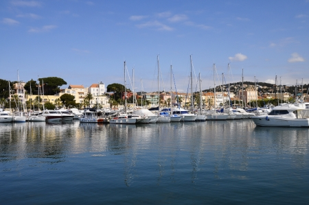 french riviera: Panorama of marina and village of Bandol on French Riviera  France