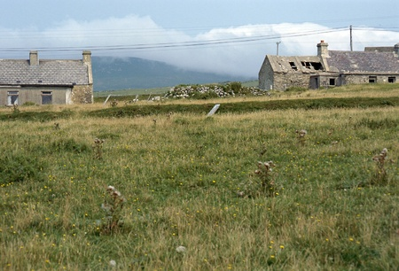 achill: Some stone house in an abandoned village in Achill island, Ireland Stock Photo