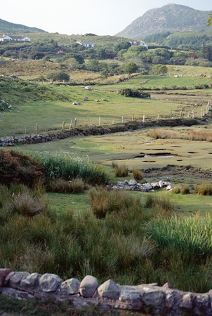achill: Moors in Ireland with fields and stone walls Stock Photo