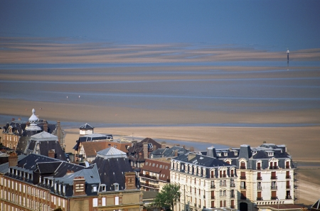 Overview of Deauville city in Calvados with sea, beach and estuary in France photo
