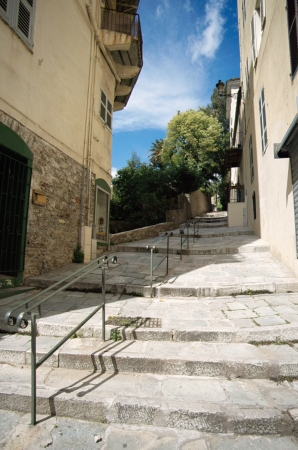 corsica: Narrow pedestrian street in the city of Bastia, Corsica, France Stock Photo