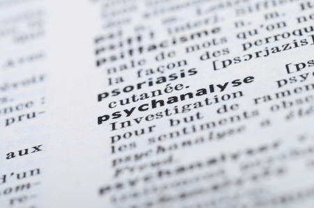 psychoanalysis: Close up of french dictionary at the word psychoanalysis Stock Photo