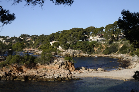 toulon: Vertical landscape of Sea and coast in Bandol, French riviera, France